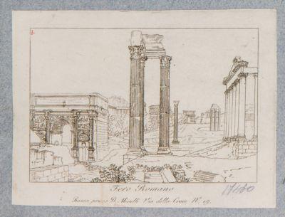 Tempio di Vespasiano con schematica veduta del Foro verso sud