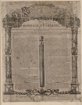 Hommage a l'Eternel profession de foi des hommes libres sur la vraie <em>religion</em> et l'immortalité de l'ame, reconnue par le peuple français, dans la séancedu 19 floréal... : [estampe]