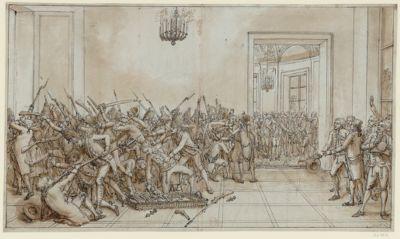 [Chevalier du poignard désarmés par ordre du roi au château des Tuileries le 28 février 1791] [dessin]