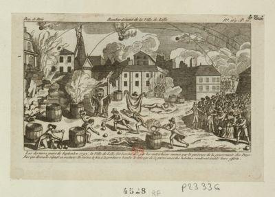 Bombardement de la ville de Lille les derniers jours de septembre <em>1792</em>, la ville de Lille fut bombardée par les Autrichiens... : [estampe]