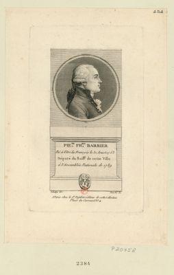 Pie.re Fr.ois Barbier né à Vitri le François le 31 aoust 1753 député du bail.ge de cette ville à l'Assemblée nationale de 1789 : [estampe]