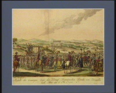 Ansicht des traurigen Zugs der König Französischen Familie von Versaillie nach <em>Paris</em> am <em>6</em> O.ber 1790 [i.e. <em>1789</em>] [estampe]