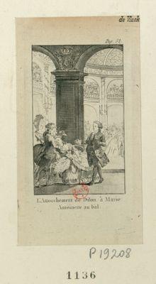 L' Attouchement de Dilon à <em>Marie</em> Antoinette au bal [estampe]