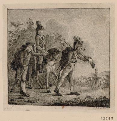 [Un Paysan allemand indique leur chemin à un fantassin et un cavalier de l'armée de Sambre et Meuse] [estampe]