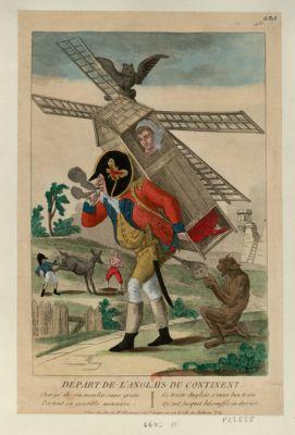 Départ de l'Anglais du continent chargé de son moulin sans grain, portant sa gentille meunière, ce triste Anglais s'en va bon train, qu'and Jacquot lui souffle au derrière : [estampe]