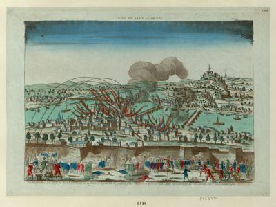 Vue Perspective du Siege et Bombardement de la Ville de Lyon ou il y avoit plus de 30000 aristocrates, mais nos Patriotes les ont anéanti, l'an 2.e de la Republique, Octobre <em>1793</em> : [estampe]