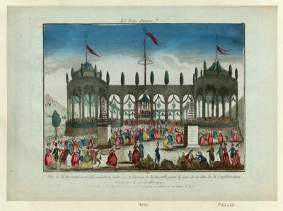 Ici l'on danse vue de la décoration et <em>illumination</em> faite sur le terrein de la Bastille pour le jour de la fête de la Conféderation française le 14 Juillet 1790 : [estampe]