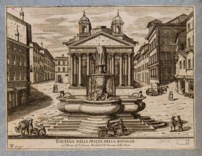 Fontana nella piazza della Rotonda nel rione di Colonna