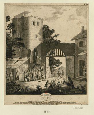 Très haut, très illustre, bien gros, singulièrement noble de Mirabeau Tonneau qui après avoir été encavé pour dettes, et reparraissant au grand air, visite dans les forteresses de rassemblement... : [estampe]