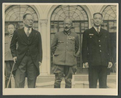 Wang Jingwei with Hideki Tojo and Shigemitsu Mamoru