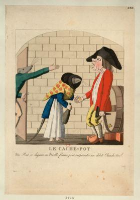 Le  Cache-pot un rat se déguise en vieille femme pour surprendre un débit clandestin : [estampe]
