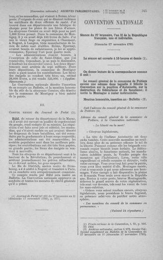 Tome 79 : Du 11 au 23 novembre 1793 - page 345
