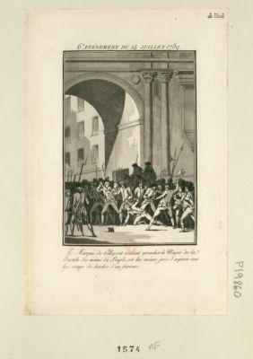 6.<em>e</em> événement du 14 juillet 1789 Le Marquis de Pellepont voulant arracher le Major de la Bastille des mains du Peuple, est lui même près d'expirer sous les coups de haches d'un furieux : [estampe]