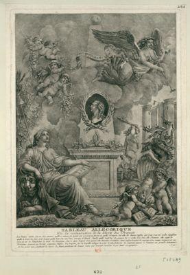 Tableau allegorique de la restauration de la liberté des Français la France assise sur un lion... : [estampe]