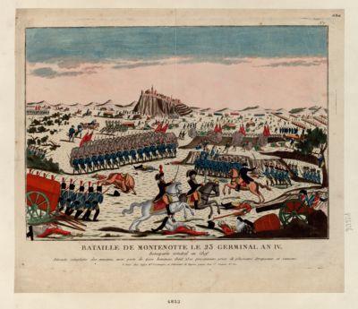 Bataille de Montenotte le 23 germinal an IV Bonaparte général en chef. Déroute complette des ennemis avec perte de 4 000 hommes dont 2 500 prisonniers, prise de plusieurs drapeaux et canons : [estampe]