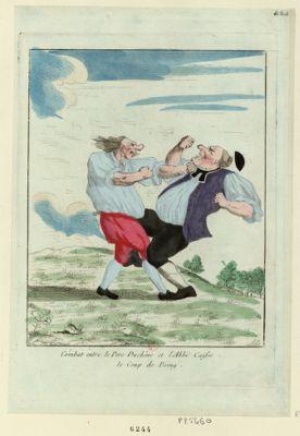 Combat entre le Pere Duchêne et l'abbé Caisse le coup de poing : [estampe]