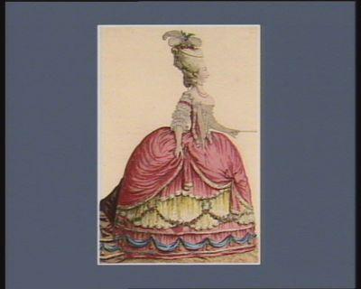 Marie Therese de Savoye, comtesse d'Artois vétûe d'une robe de cour garnie de queües de marte, de gaze en coq.ue, draperies, fleurs et glands. Coëffure en tapée renversée <em>à</em> quatre boucles, surmontée d'aigrettes, perles et fleurs : [estampe]