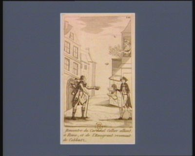 Rencontre du cardinal Collier allant à Rome, et de l'emigrant revenant de Coblentz [estampe]