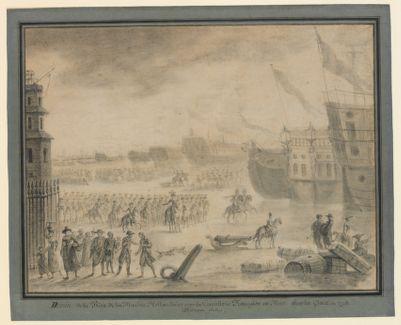Déssin de la prise de la marine hollandaise par la cavallerie française en mer sur la glace en 1795 [dessin]