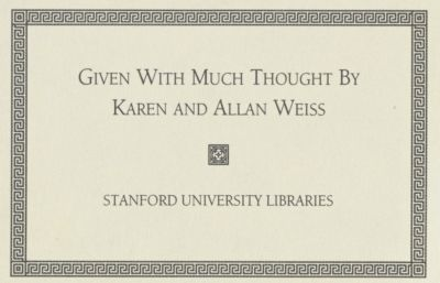 The Allan and Karen Weiss Book Fund