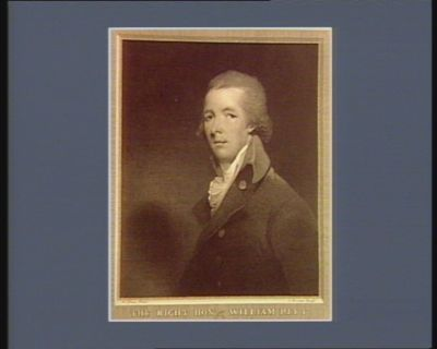 The  Right hon.ble William Pitt engraved from <em>a</em> picture in the possession of the right hon.ble Henry Dundas : [estampe]