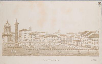 Foro Traiano, veduta della piazza da ovest con lo scavo francese
