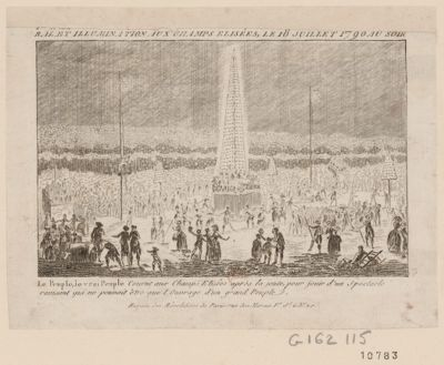 Bal et <em>illumination</em> aux Champs Elisées, le 18 juillet 1790 au soir le peuple, le vrai peuple courut au Champs Elisées après la joute, pour jouir d'un spectacle ravisant qui ne pouvoit être que l'ouvrage d'un grand peuple : [estampe]