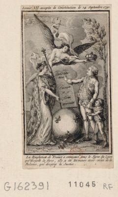 Louis XVI accepta la Constitution le 14 septembre 1791 la révolution de France a commencé sous le signe du Lyon qui designe la force, elle a été terminée sous celui de la Balance, qui désigne la justice : [estampe]
