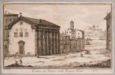 Foro Boario, veduta del tempio della Fortuna Virile e fabbriche adiacenti