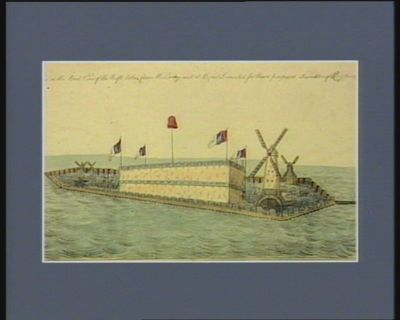 This is the real view of the raft taken from the original at Brest invented for thare proposed invation of England [estampe]