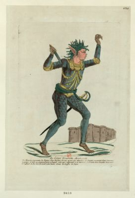 Le  Géant Iscariotte aristocrate ce monstre represente la figure d'un enfant furieux ayant une chevelure de serpent surmontée d'une couronne a piqures et tient un poignard pret a frapper ceux qui s'opposent a sa tirannie, il est vétu d'un corcelet brassard et cuissard de fer il a les pieds et les mains armés de griffes de tigre : [estampe]