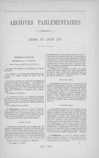 Tome 25 : Du 13 avril au 11 mai 1791 - page 1