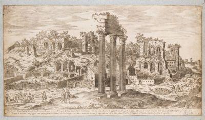Palatino, veduta dell'angolo nord-est del Palatino dal Foro Romano con le colonne del tempio dei Castori