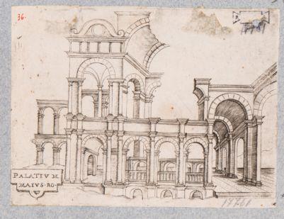 Palatino, ricostruzione immaginaria di parte di un edificio