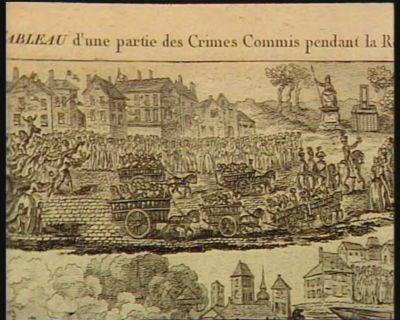 [H. Huit charretées d'individus condamnés à mort, s'acheminent vers la place de la Révolution précedées par Henriot. Des enfans tendent leurs bras vers leurs malheureuses mères] [estampe]