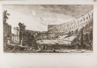 Prospetto interno dell'Anfiteatro Flavio, chiamato Colosseo dalla Statua Colossale, che era nel Capo della Via Sacra