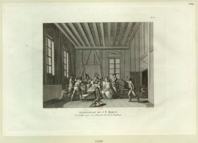 Assassinat de J.P. <em>Marat</em> le <em>13</em> juillet <em>1793</em>, ou 25 messidor an I.er de la République : [estampe]