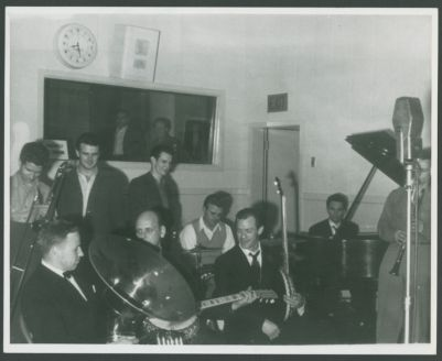 Yerba Buena Jazz Band at 1942 recording session in studio