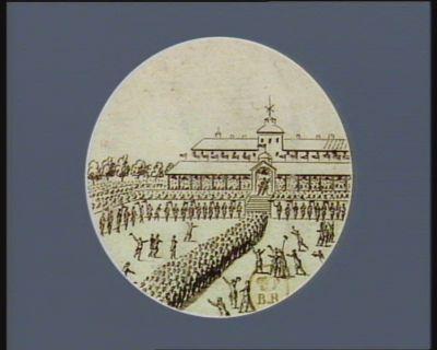 [Arrivée des députés <em>de</em> l'Assemblée nationale au <em>Champ</em> <em>de</em> <em>Mars</em> au cours <em>de</em> la Fête <em>de</em> la Fédération, le 14 juillet 1790] [estampe]