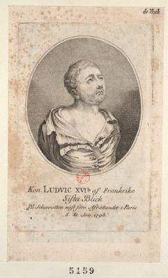 Kon. Ludvic XVI.s of Frankrike sista Blick pa schavotten näst före afträttanded i Paris d. <em>21</em> Jan. <em>1793</em> : [estampe]