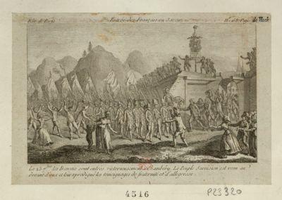 Entrée des Français en Savoie le 23 [i.e. 24] 7.bre les français sont entrés victorieusement à Chambéry... : [estampe]