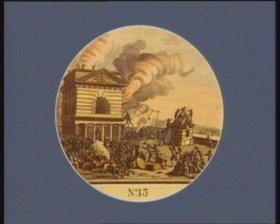 N.o 13 12 juillet. Barriere de la Conférence incendiée par le peuple... : [estampe]