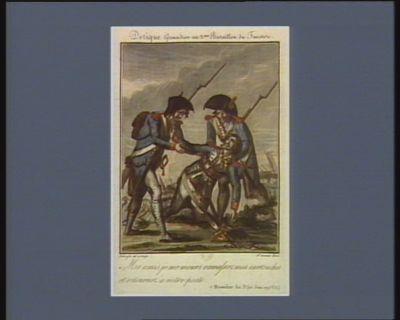Derique grenadier au 2.eme bataillon du Finistere mes amis je me meurs ramassez mes cartouches et retournez à votre poste. 7 messidor an 3.e (25 juin <em>1793</em> v.s.) : [estampe]