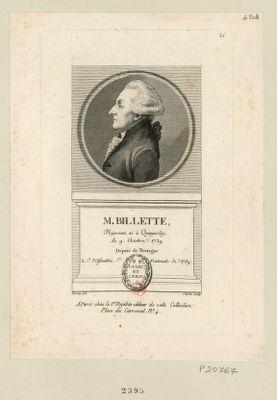 M. Billette négociant, né à Quimper le 9 octobre 1729, député de Bretagne à l'Assemblée nationale de 1789 : [estampe]