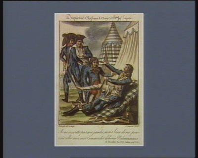 Duquesne chasseur 8 comp.e 5.<em>e</em> b.on inf. legere je ne regrette pas ma jambe mais bien de ne pouvoir avec mes camarades delivrer Valenciennes. 18 messidor an 3.<em>e</em> (6 juillet 1793 v.s.) : [estampe]
