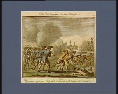 Fuite des Anglais devant Ostende apprenez que les républicains savent toujours vaincre. Le 1.er prairial an VI : [estampe]