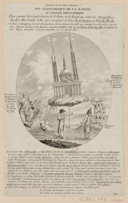 Jeu allegorique de la raison ou facetie philosophique representant la grande guerre de Voltaire et de Rousseau contre les aëropolites ou les marchands d'air qui sacrifient le dieu de la nature au dieu de l'ecole [estampe]