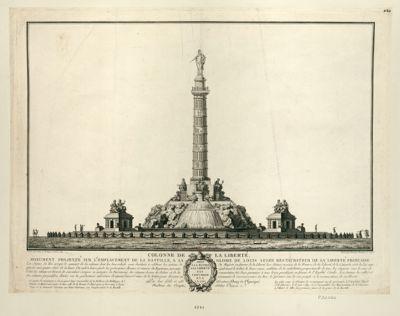Colonne de la liberté monument projetté sur l'emplacement de la Bastille, a la gloire de Louis seize restaurateur de la liberté française... : dédié a la patrie, a la liberté, a la concorde et a la loi : [estampe]