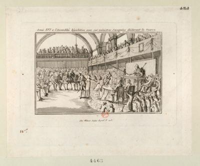 Louis XVI a l'Assemblée législative avec ses ministres jacoquins déclarant la guerre [estampe]