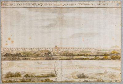 Acquedotto dell'Acqua Paola, prospetto e pianta di un tratto